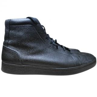 Balenciaga black leather high tops