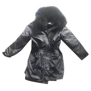 Yves Salomon Army  black raccoon/rabbit hooded coat