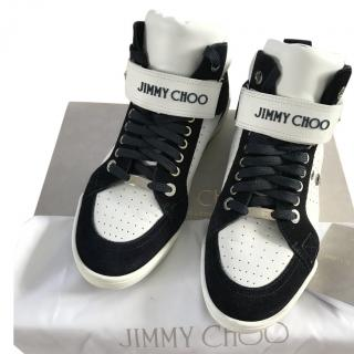 Jimmy Choo lewis white/dark ocean sport calf/suede trainers