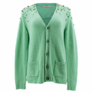 Ermano Scervino Green Cashmere Cardigan with Crystals