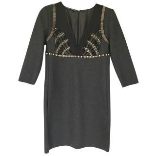 Alberta Ferretti Grey Embellished Silk Dress