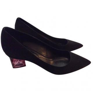 Nicholas Kirkwood black suede heels