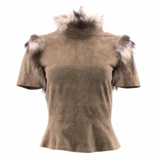 Fendi Suede and Fox Fur Top