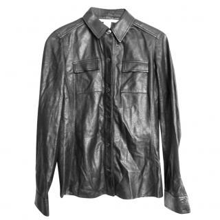 Diane Von Furstenberg black leather shirt