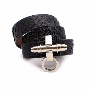 Givenchy Three Row Obsedia Black Leather Bracelet