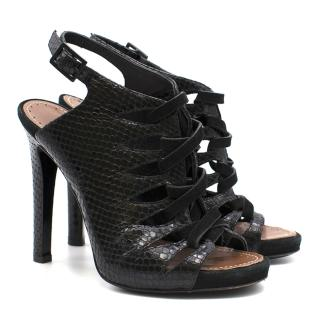 Porenza Schouler Black Leather Strap Heels