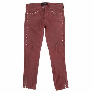 Isabel Marant Red Leather Star Stud Jeans