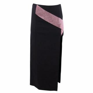 Versace Black Silk Skirt with Crystal Embellishments