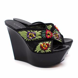Casadei Black Patent Leather Floral Wedges