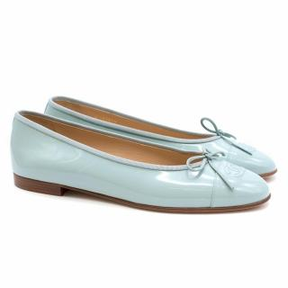 Chanel Bleu Clair Patent Leather Ballerinas