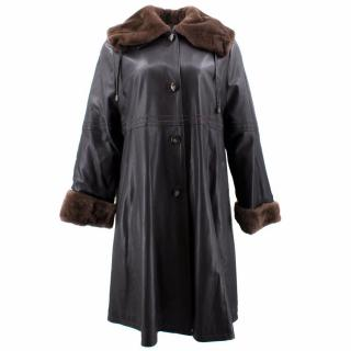 Pirbos Brown Leather and Fur Coat