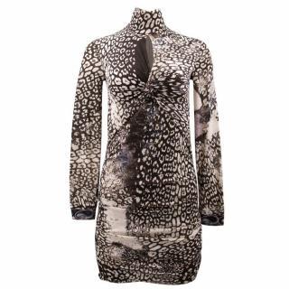 Emilio Pucci Animal Print Wool Dress with Key Hole Neck