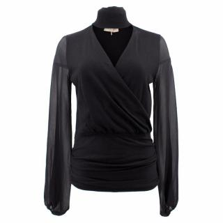 Emilio Pucci Black Wool Top with Silk Sleeves