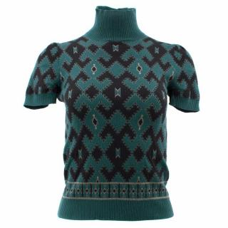 Gucci Green Patterned Wool Top
