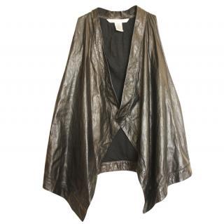 Diane Von Furstenberg black leather waistcoat