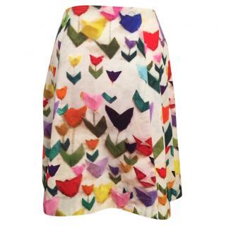 Jil Sander Navy tulip print skirt