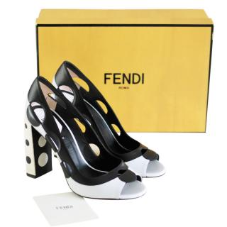 FENDI d�collet� optical black and white pumps
