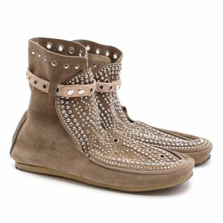 Isabel Marant Studded Suede Moccasin Boots