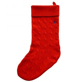 Polo Ralph Lauren red cable knit wool-cashmere Christmas stocking
