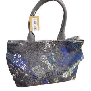 Galliano canvas and leather bag