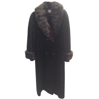 Harrods Antonette Ladies Coat in Black with Fur Collar and Cuffs
