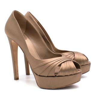 Christian Dior Eclat Satin Peep Toe Platform Pumps