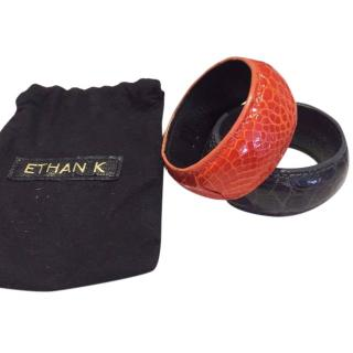 Ethan K Crocodile Leather Bangles in Grey and Orange