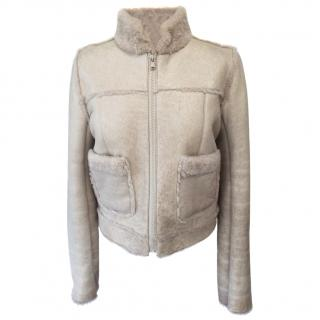 Joseph Cracked Leather Reversible Shearling Jacket in Beige