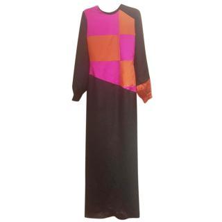 Roksanda long evening black/ multicolour dress 100% silk