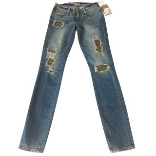 True Religion Ripped detail low rise skinny jeans