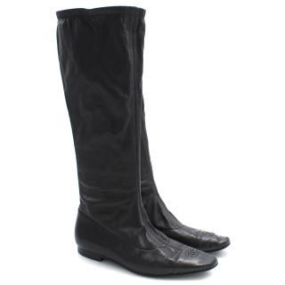 Chanel Long Black Logo Boots