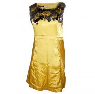Theory Gold Silk Dress