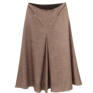 Joseph A-line midi khaki wool skirt