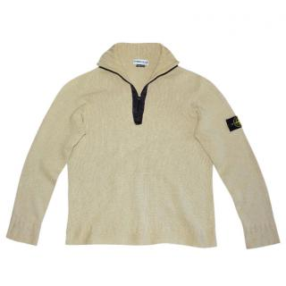 Stone Island Beige Zip Front Sweater