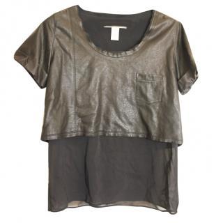 Diane Von Furstenberg Black Leather Lined Top