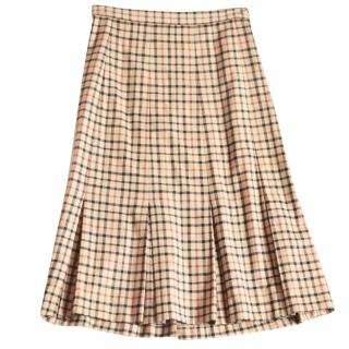 Daks camel tartan pleated skirt