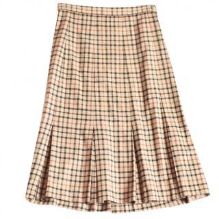 Daks camel tartan pleated skirt