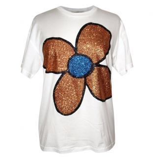 CHRISTOPHER KANE  glitter flower T-shirt, NEW (S)