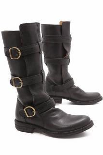 Florentine & Baker Black Leather Buckled Strap Boots