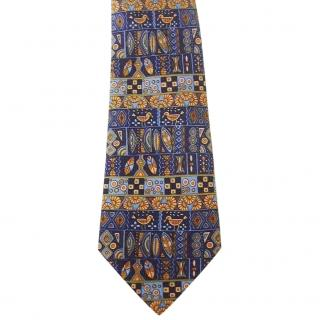 Hermes Blue Gold Tribal Motif Birds Neck Tie