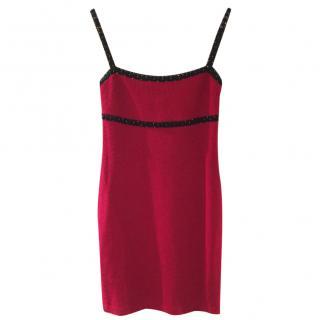 St John Embellished neckline red cocktail dress