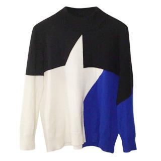 VERSACE 100% Cashmere Sweater White Black Blue