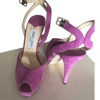 Jimmy Choo Magenta suede ankle strap sandals