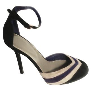 Sergio Rossi black suede ankle strap heels