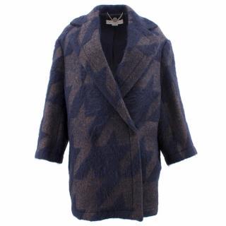 Stella McCartney Navy Patterned Wool Coat