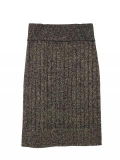Bella Freud Knitted Metallic Ribbed Wool Skirt