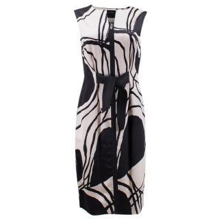 Amanda Wakeley Black and White Satin Midi Dress