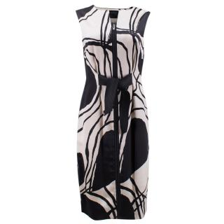 Amanda Wakeley Black and White Satin Midi Dress