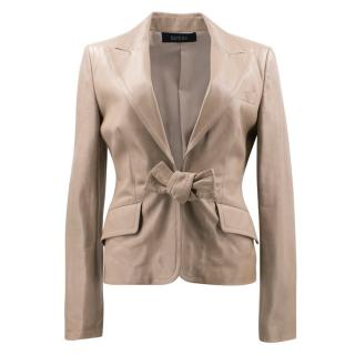 Gucci Nude Leather Blazer Jacket with Bow