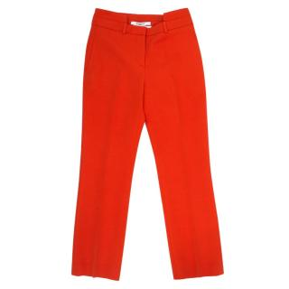 Givenchy Red Cut Out Waistband Pleated Trousers